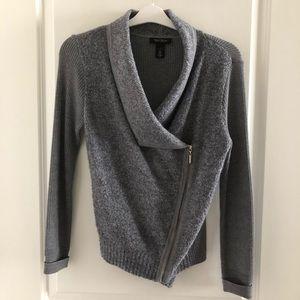 WHBM Asymmetrical Zip Sweater Jacket Sz S/M